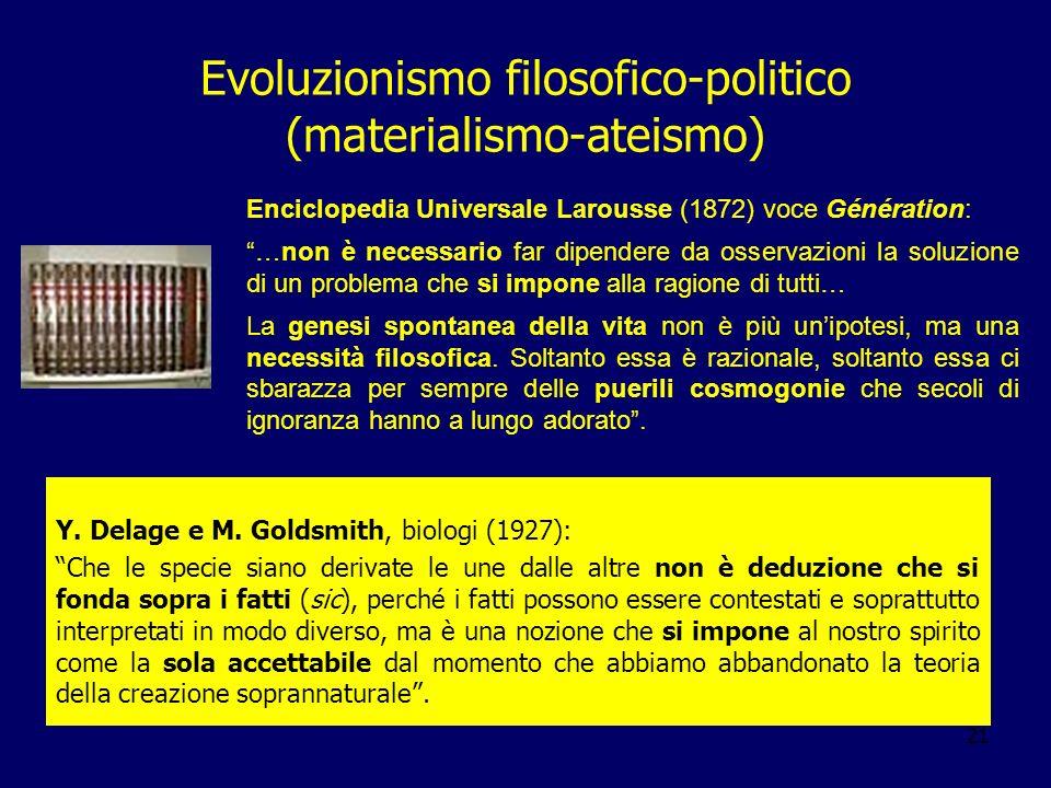 21 Evoluzionismo filosofico-politico (materialismo-ateismo) Y. Delage e M. Goldsmith, biologi (1927): Che le specie siano derivate le une dalle altre
