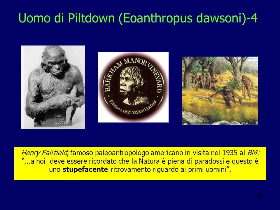 52 Uomo di Piltdown (Eoanthropus dawsoni)-4 Henry Fairfield, famoso paleoantropologo americano in visita nel 1935 al BM: …a noi deve essere ricordato