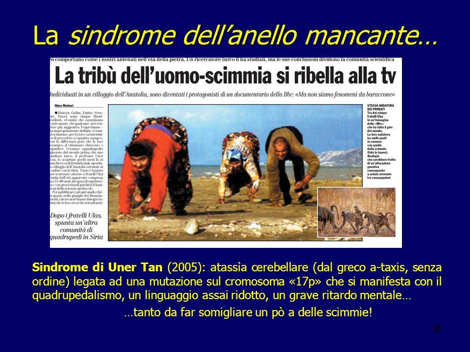 58 La sindrome dellanello mancante… Sindrome di Uner Tan (2005): atassìa cerebellare (dal greco a-taxis, senza ordine) legata ad una mutazione sul cro