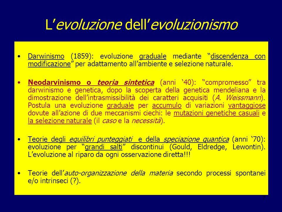 7 Levoluzione dellevoluzionismo Darwinismo (1859): evoluzione graduale mediante discendenza con modificazione per adattamento allambiente e selezione