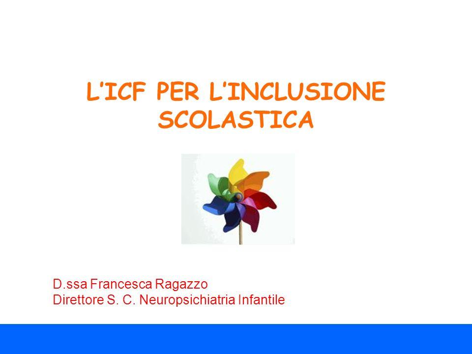 LICF PER LINCLUSIONE SCOLASTICA D.ssa Francesca Ragazzo Direttore S. C. Neuropsichiatria Infantile