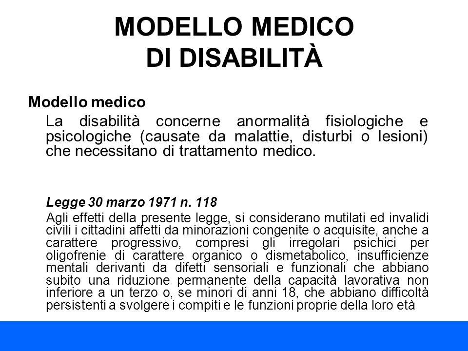 MODELLO MEDICO DI DISABILITÀ Modello medico La disabilità concerne anormalità fisiologiche e psicologiche (causate da malattie, disturbi o lesioni) ch