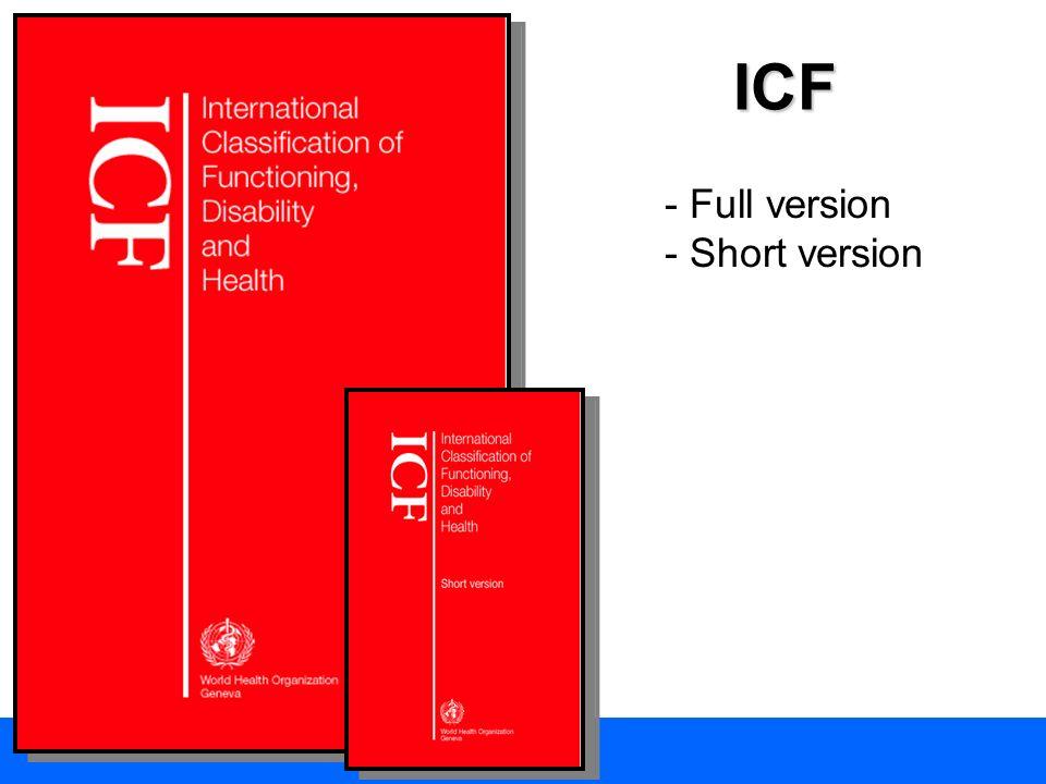 ICF: le domande sulla salute 1.Classificazione ICD 10 2.Classificazione ICF funzioni corporee 3.Classificazione ICF strutture corporee 4.Classificazione ICF attività & partecipazione 5.Classificazione ICF fattori ambientali 6.Non classificabili 1.Cè una condizione di salute.