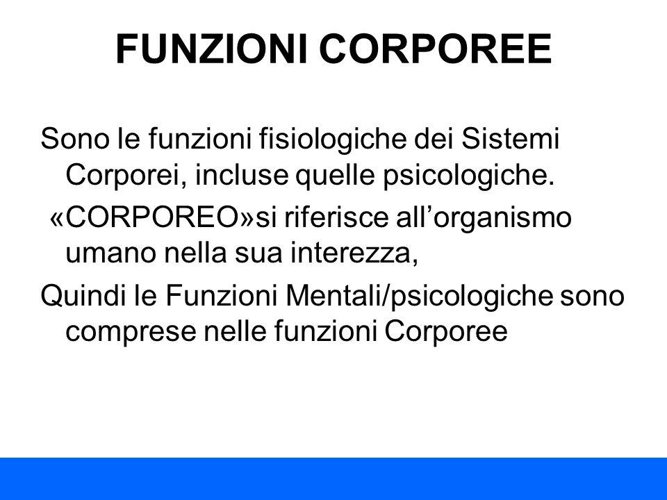 FUNZIONI CORPOREE Sono le funzioni fisiologiche dei Sistemi Corporei, incluse quelle psicologiche. «CORPOREO»si riferisce allorganismo umano nella sua