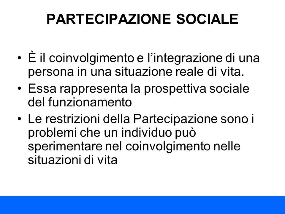 PARTECIPAZIONE SOCIALE È il coinvolgimento e lintegrazione di una persona in una situazione reale di vita. Essa rappresenta la prospettiva sociale del