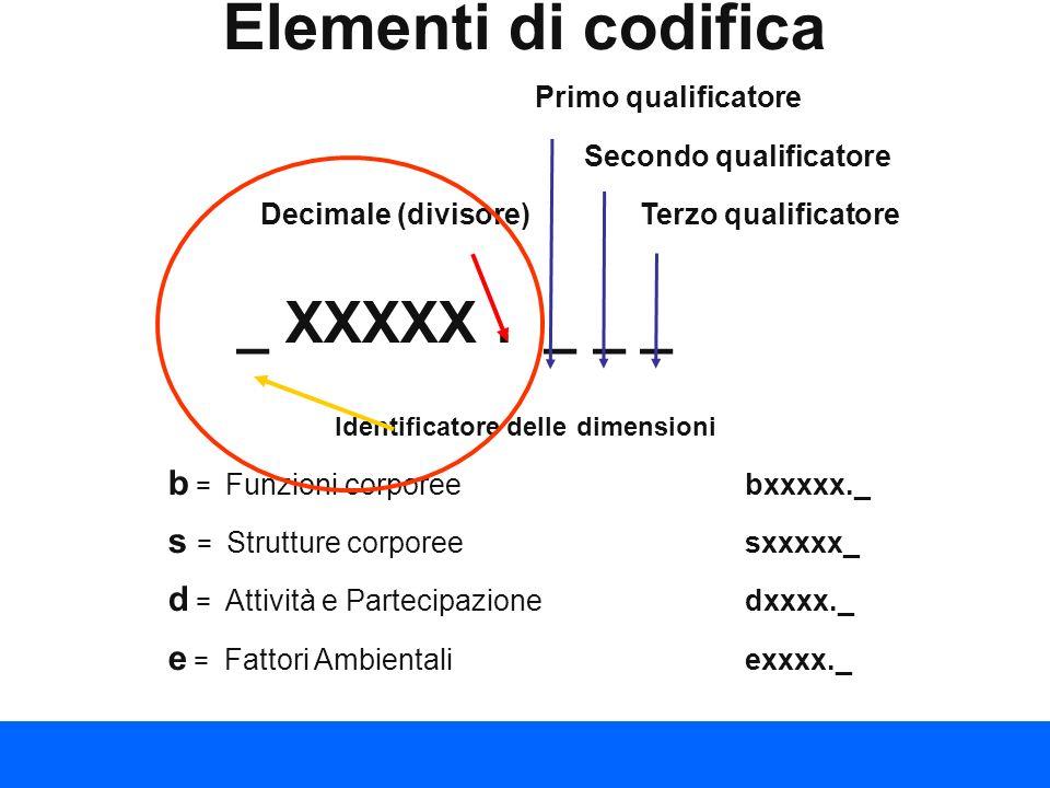 Elementi di codifica Primo qualificatore Secondo qualificatore Decimale (divisore) Terzo qualificatore _ XXXXX. _ __ Identificatore delle dimensioni b