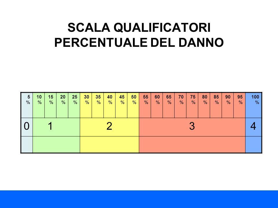 SCALA QUALIFICATORI PERCENTUALE DEL DANNO 5%5% 10 % 15 % 20 % 25 % 30 % 35 % 40 % 45 % 50 % 55 % 60 % 65 % 70 % 75 % 80 % 85 % 90 % 95 % 100 % 01234