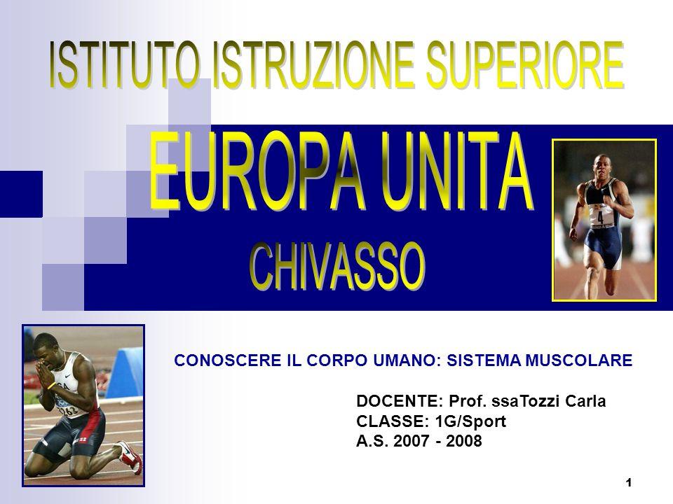 1 CONOSCERE IL CORPO UMANO: SISTEMA MUSCOLARE DOCENTE: Prof. ssaTozzi Carla CLASSE: 1G/Sport A.S. 2007 - 2008