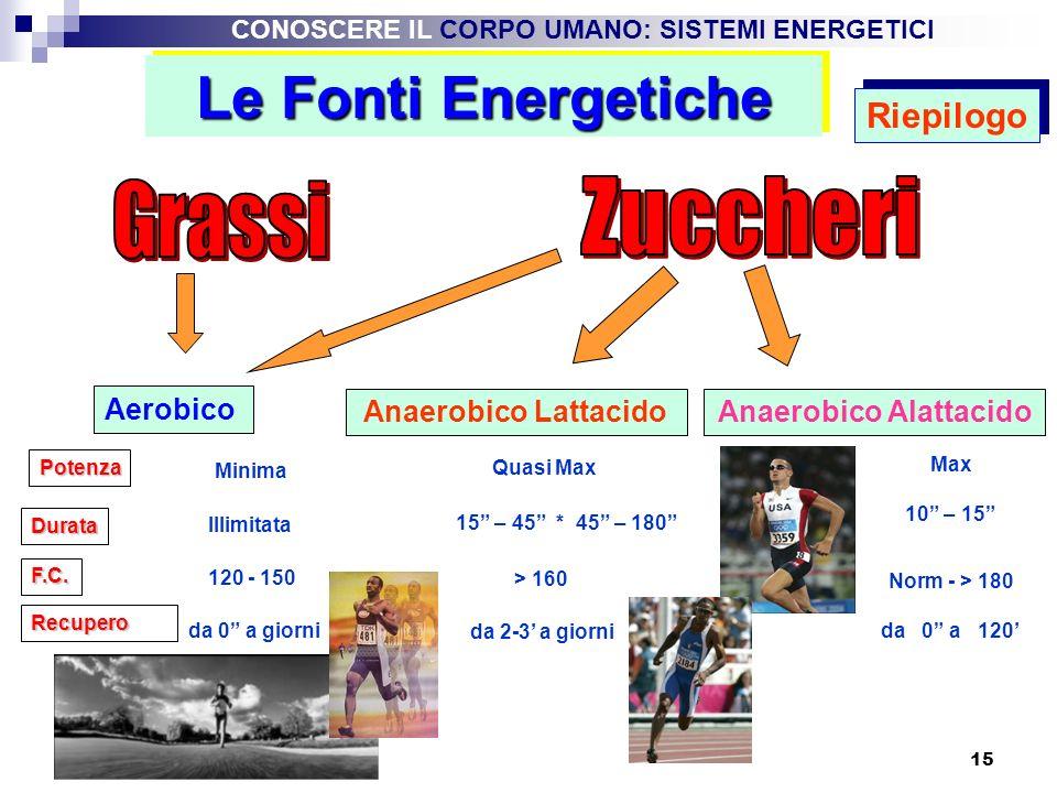 15 Le Fonti Energetiche Aerobico Anaerobico LattacidoAnaerobico Alattacido Potenza Minima Quasi Max Max Durata Illimitata 15 – 45 * 45 – 180 10 – 15 F