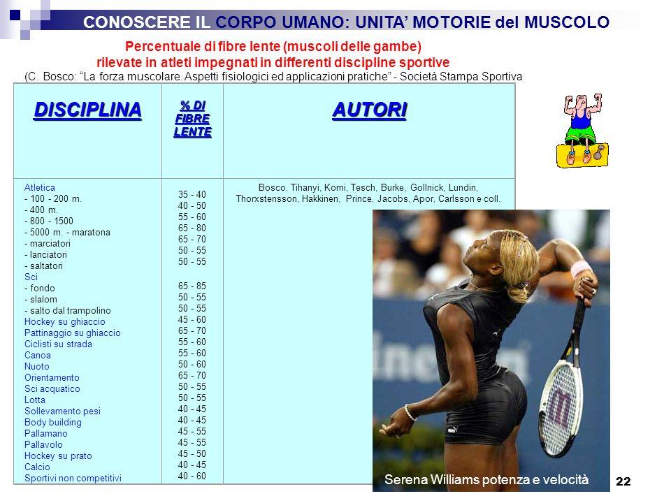 22 Percentuale di fibre lente (muscoli delle gambe) rilevate in atleti impegnati in differenti discipline sportive (C. Bosco: La forza muscolare. Aspe