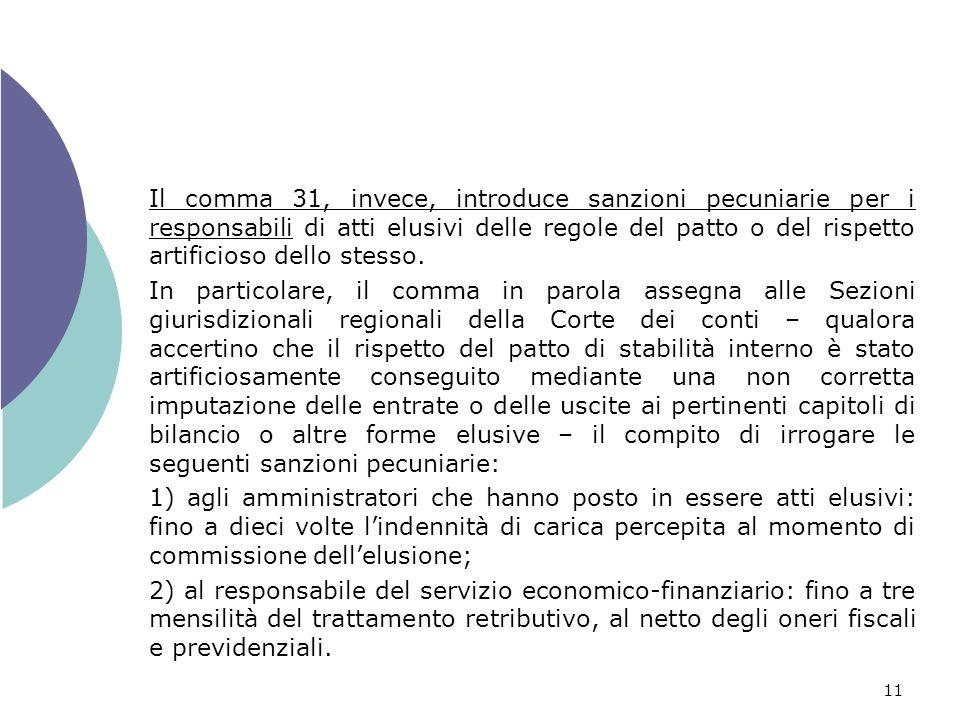 11 Il comma 31, invece, introduce sanzioni pecuniarie per i responsabili di atti elusivi delle regole del patto o del rispetto artificioso dello stesso.
