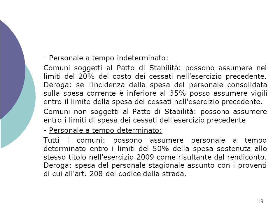 19 - Personale a tempo indeterminato: Comuni soggetti al Patto di Stabilità: possono assumere nei limiti del 20% del costo dei cessati nell esercizio precedente.