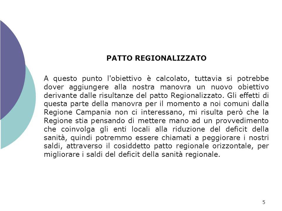 5 PATTO REGIONALIZZATO A questo punto l obiettivo è calcolato, tuttavia si potrebbe dover aggiungere alla nostra manovra un nuovo obiettivo derivante dalle risultanze del patto Regionalizzato.