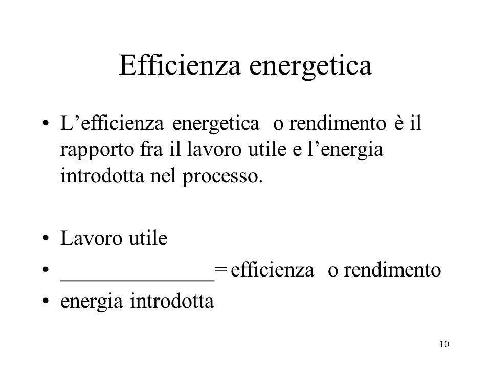 10 Efficienza energetica Lefficienza energetica o rendimento è il rapporto fra il lavoro utile e lenergia introdotta nel processo. Lavoro utile ______