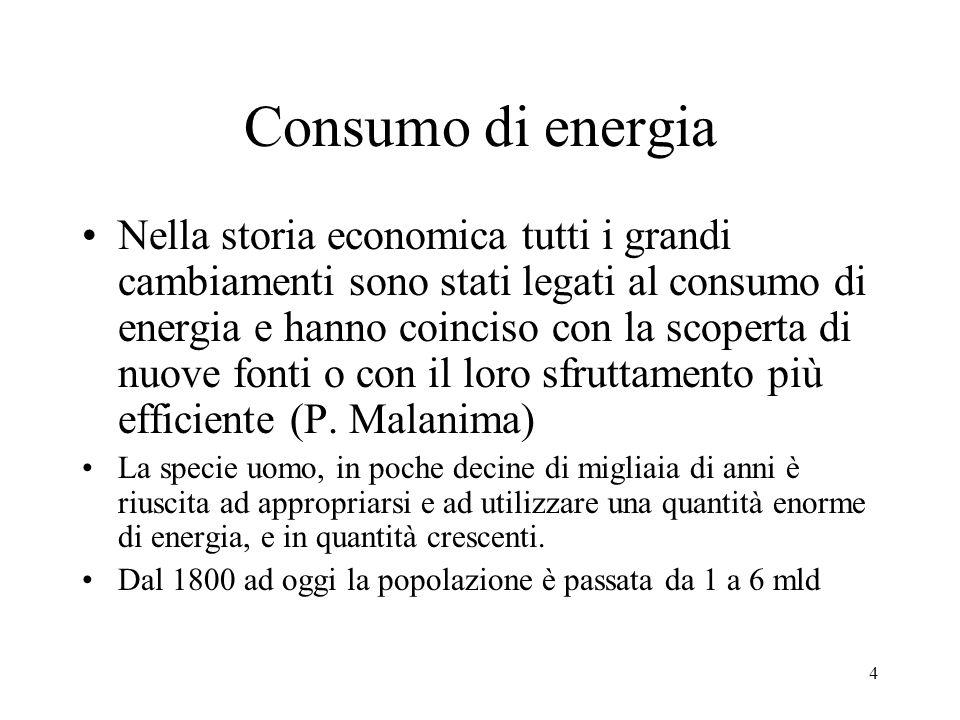 4 Consumo di energia Nella storia economica tutti i grandi cambiamenti sono stati legati al consumo di energia e hanno coinciso con la scoperta di nuo