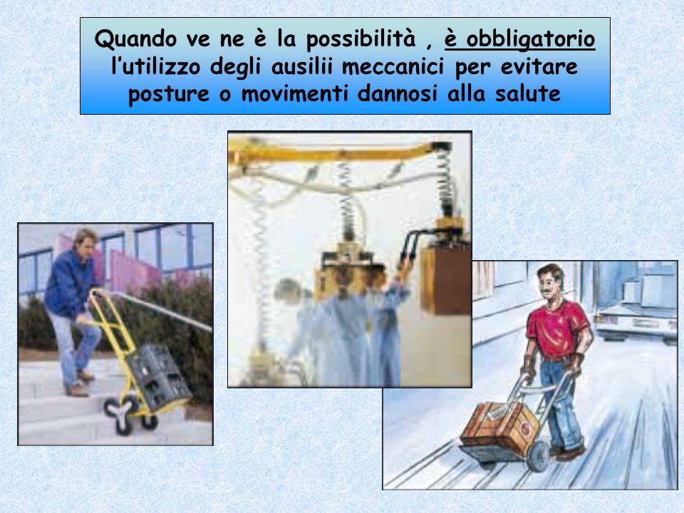 Per collocare o prendere un carico in alto, evitare di inarcare la schiena ma utilizzare una idonea scaletta e richiedere laiuto di un collega a cui p