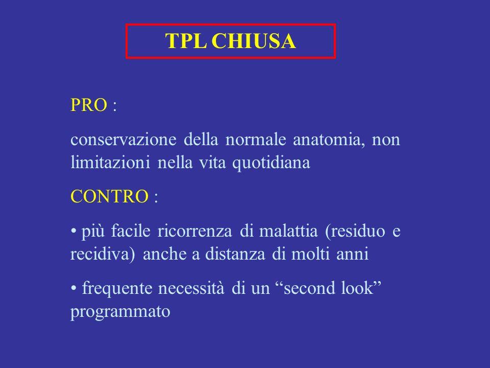 TPL CHIUSA PRO : conservazione della normale anatomia, non limitazioni nella vita quotidiana CONTRO : più facile ricorrenza di malattia (residuo e recidiva) anche a distanza di molti anni frequente necessità di un second look programmato