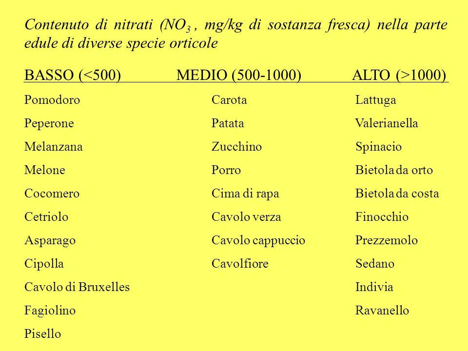 CICLO DEI NITRATI NELLORGANISMO UMANO (da Pommerening et alii, 1992) Cibi NO 3 Bocca Riduzione microbica NO 2 Stomaco: ambiente acido Reazione con amine (derivanti per es.