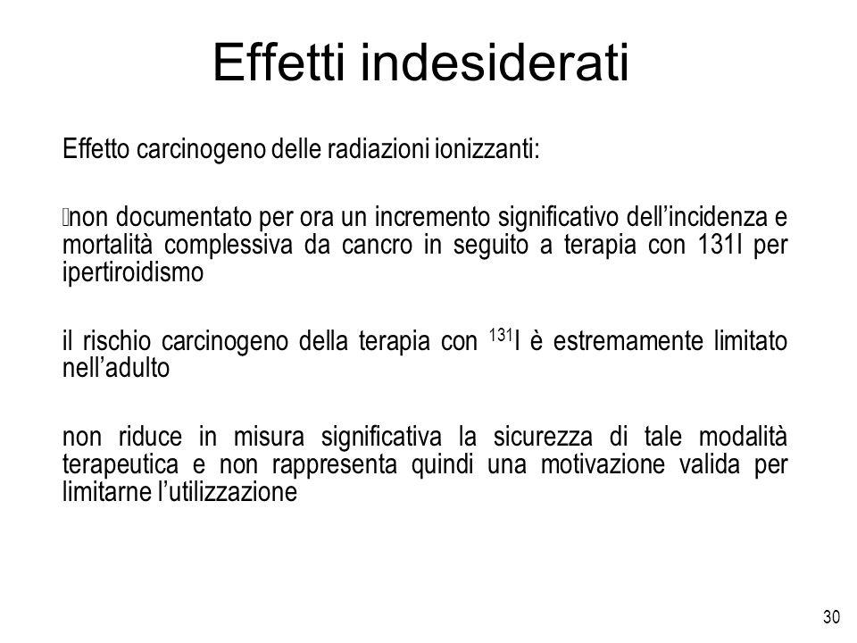 30 Effetti indesiderati Effetto carcinogeno delle radiazioni ionizzanti: non documentato per ora un incremento significativo dellincidenza e mortalità
