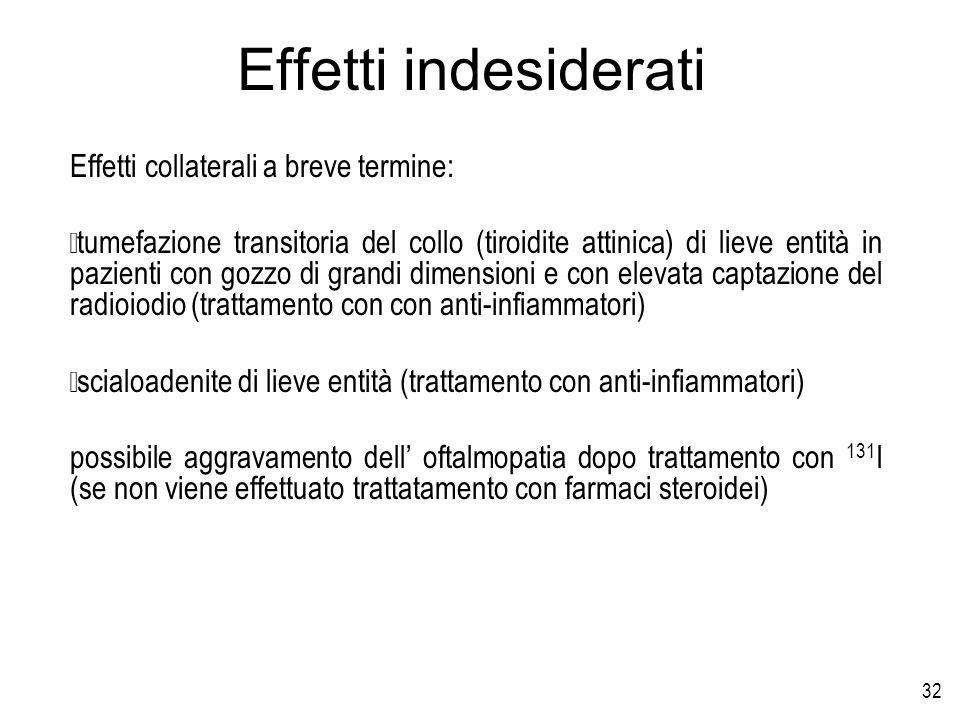 32 Effetti indesiderati Effetti collaterali a breve termine: tumefazione transitoria del collo (tiroidite attinica) di lieve entità in pazienti con go
