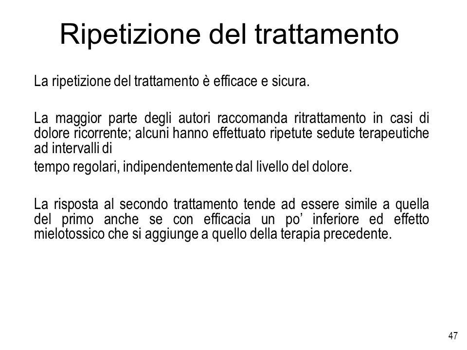 47 Ripetizione del trattamento La ripetizione del trattamento è efficace e sicura. La maggior parte degli autori raccomanda ritrattamento in casi di d
