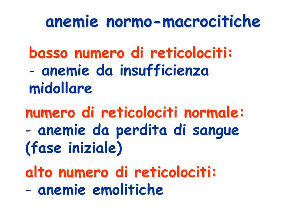basso numero di reticolociti: - anemie da insufficienza midollare anemie normo-macrocitiche numero di reticolociti normale: - anemie da perdita di sangue (fase iniziale) alto numero di reticolociti: - anemie emolitiche