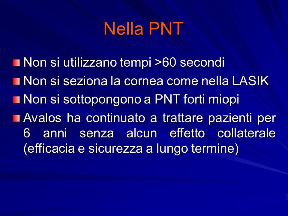 Nella PNT Non si utilizzano tempi >60 secondi Non si seziona la cornea come nella LASIK Non si sottopongono a PNT forti miopi Avalos ha continuato a t