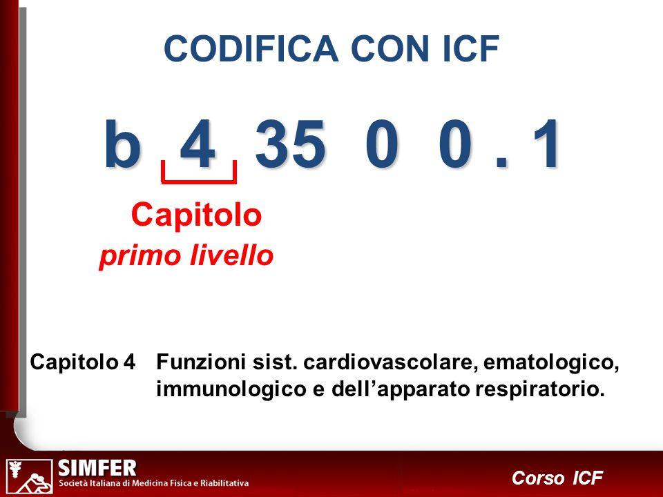 13 Corso ICF b 4 35 0 0. 1 Capitolo primo livello Capitolo 4Funzioni sist. cardiovascolare, ematologico, immunologico e dellapparato respiratorio. COD