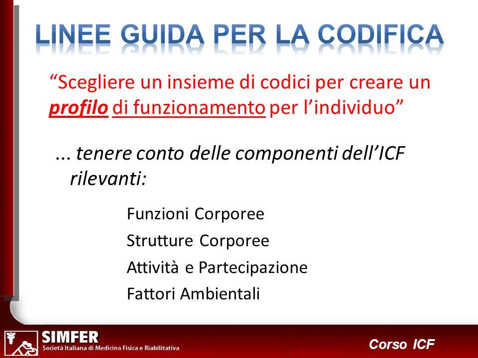 18 Corso ICF Scegliere un insieme di codici per creare un profilo di funzionamento per lindividuo... tenere conto delle componenti dellICF rilevanti: