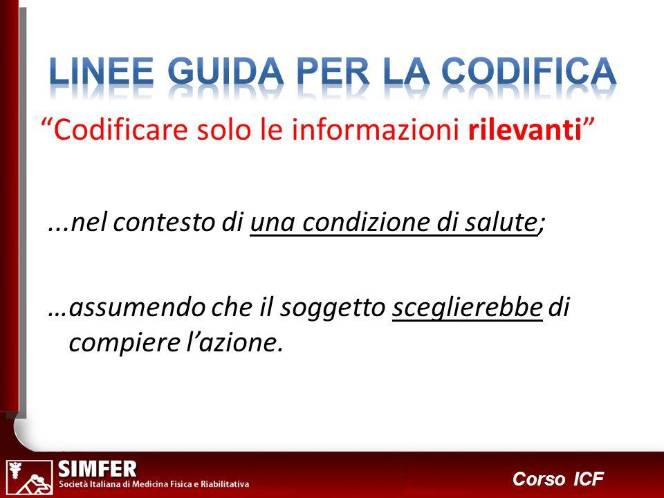 19 Corso ICF Codificare solo le informazioni rilevanti...nel contesto di una condizione di salute; …assumendo che il soggetto sceglierebbe di compiere