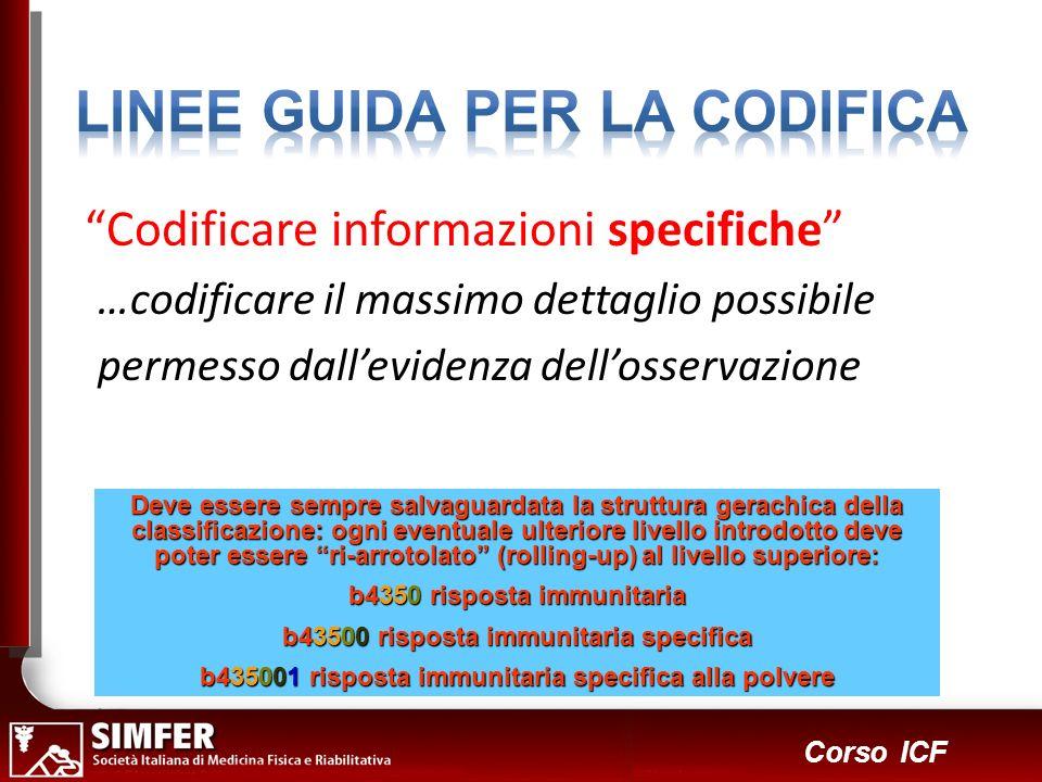22 Corso ICF Codificare informazioni specifiche …codificare il massimo dettaglio possibile permesso dallevidenza dellosservazione Deve essere sempre s