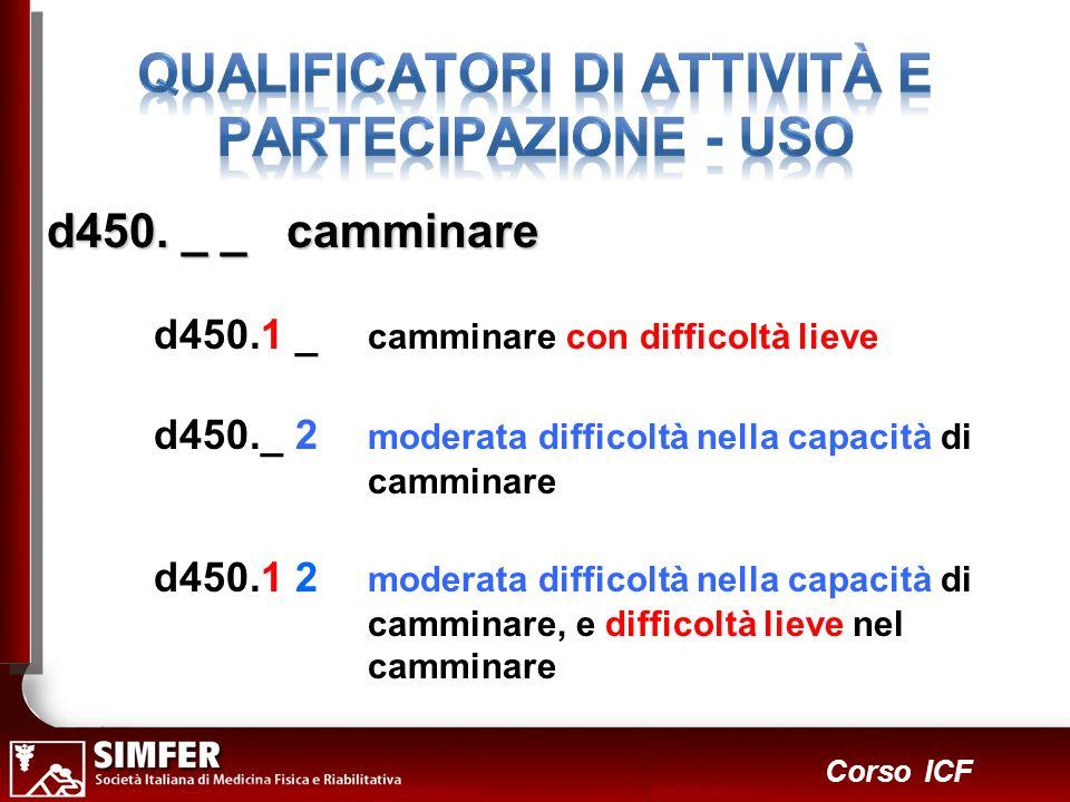 30 Corso ICF d450. _ _ camminare d450.1 _ camminare con difficoltà lieve d450._ 2 moderata difficoltà nella capacità di camminare d450.1 2 moderata di
