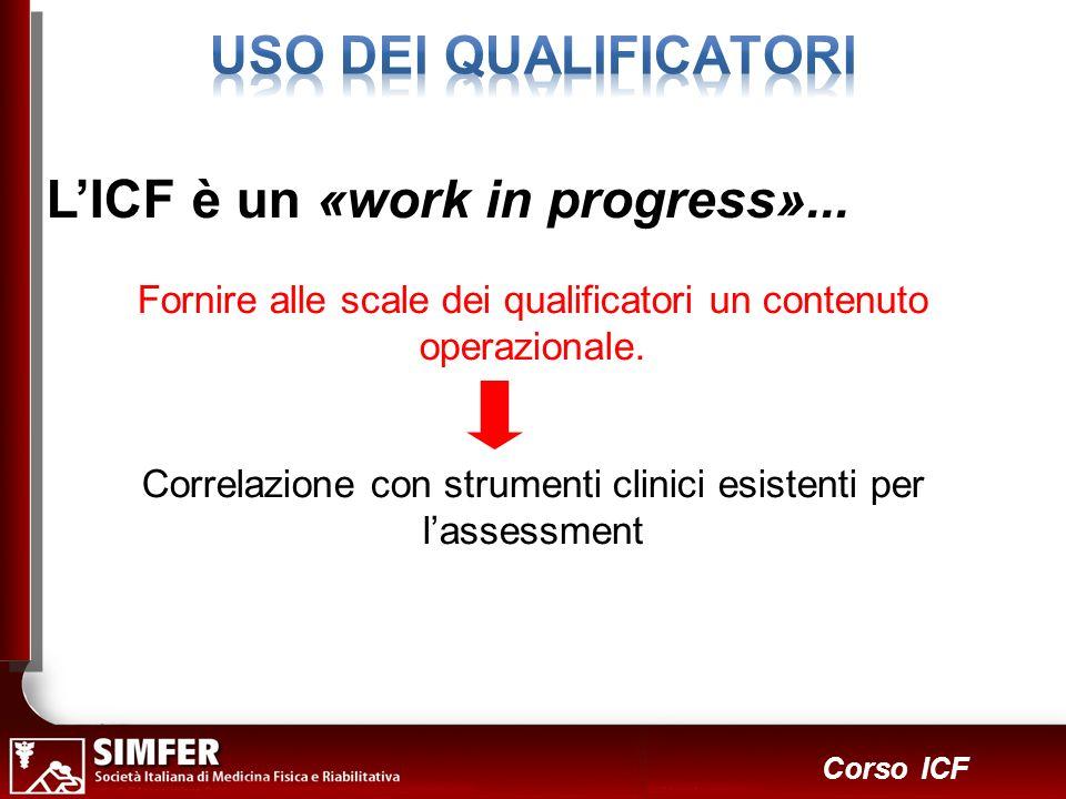 31 Corso ICF LICF è un «work in progress»... Fornire alle scale dei qualificatori un contenuto operazionale. Correlazione con strumenti clinici esiste