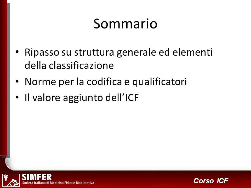 33 Corso ICF Sommario Ripasso su struttura generale ed elementi della classificazione Norme per la codifica e qualificatori Il valore aggiunto dellICF