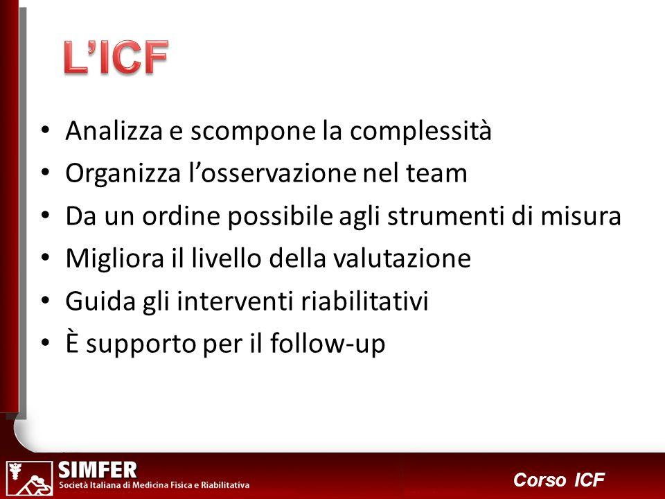 34 Corso ICF Analizza e scompone la complessità Organizza losservazione nel team Da un ordine possibile agli strumenti di misura Migliora il livello d
