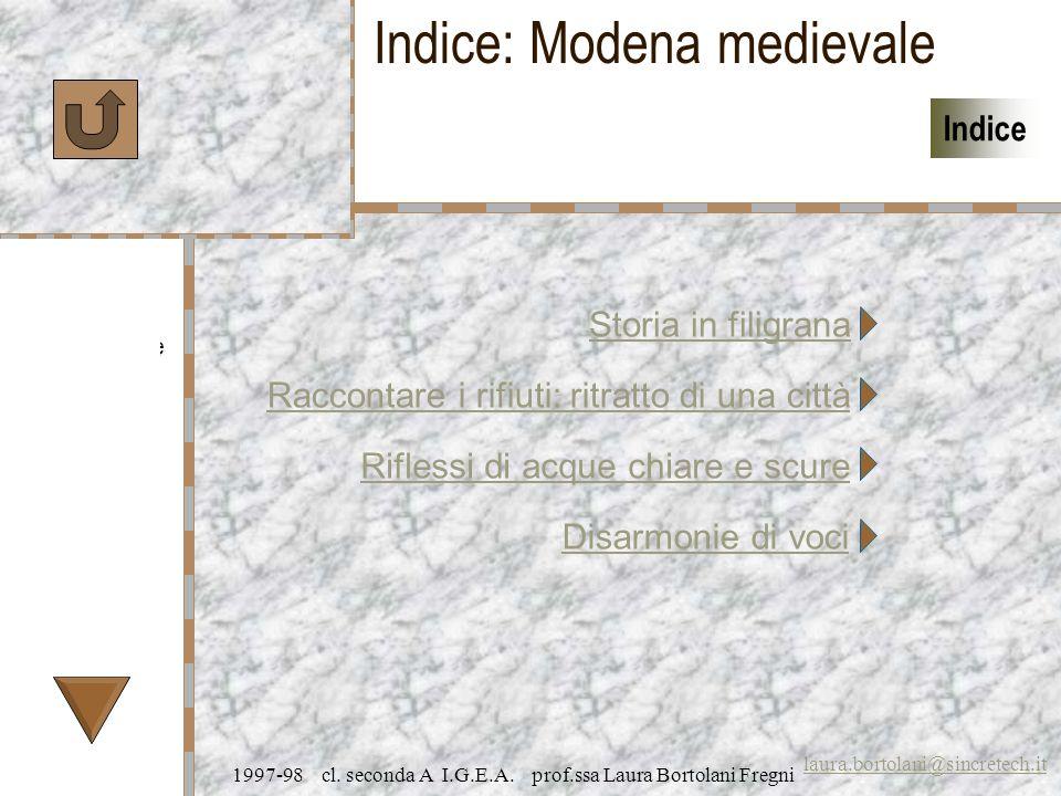 Caratteristiche Specifiche Prezzi laura.bortolani@sincretech.it Indice 1997-98 cl. seconda A I.G.E.A. prof.ssa Laura Bortolani Fregni Riflessi di acqu