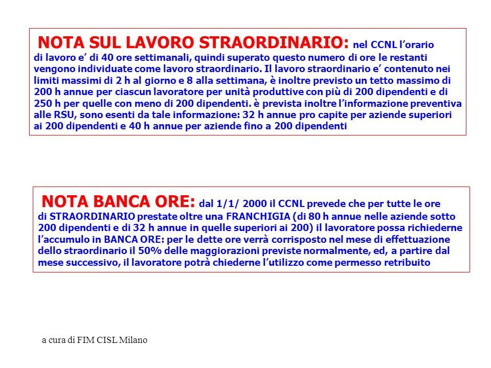 a cura di FIM CISL Milano NOTA SUL LAVORO STRAORDINARIO: nel CCNL lorario di lavoro e di 40 ore settimanali, quindi superato questo numero di ore le r