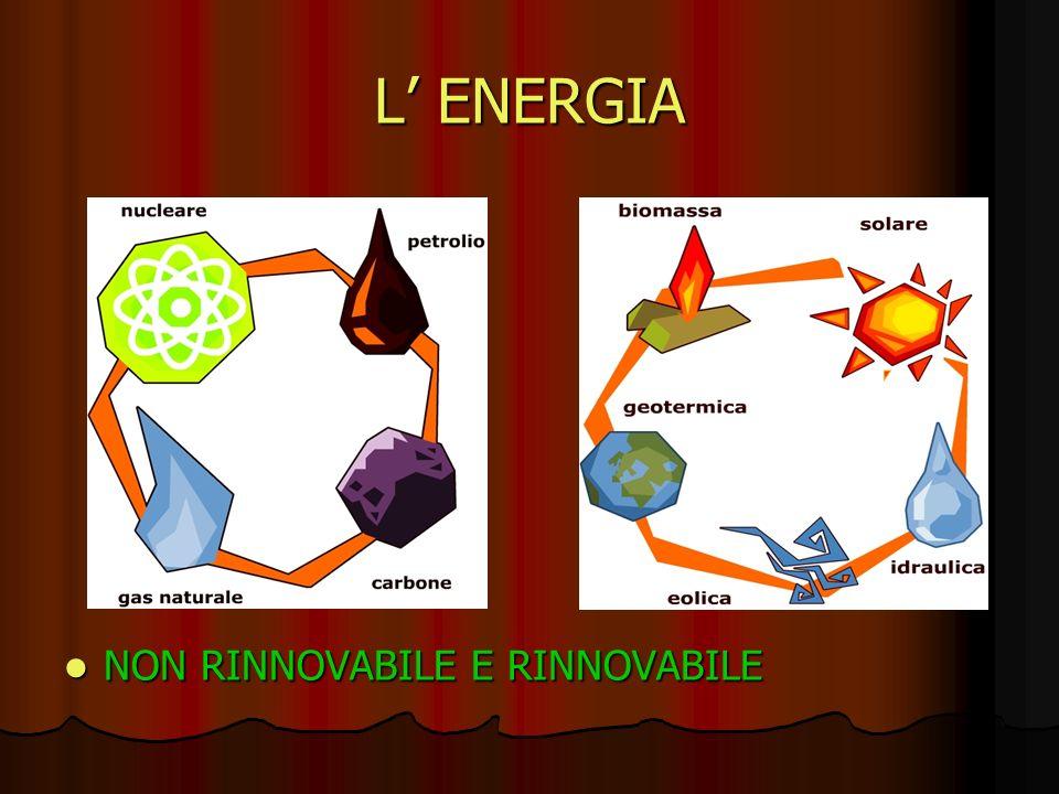 L ENERGIA NON RINNOVABILE E RINNOVABILE NON RINNOVABILE E RINNOVABILE