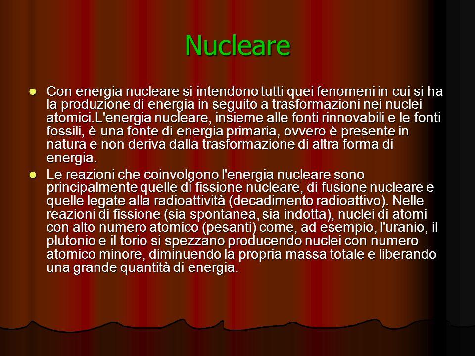 Nucleare Con energia nucleare si intendono tutti quei fenomeni in cui si ha la produzione di energia in seguito a trasformazioni nei nuclei atomici.L energia nucleare, insieme alle fonti rinnovabili e le fonti fossili, è una fonte di energia primaria, ovvero è presente in natura e non deriva dalla trasformazione di altra forma di energia.