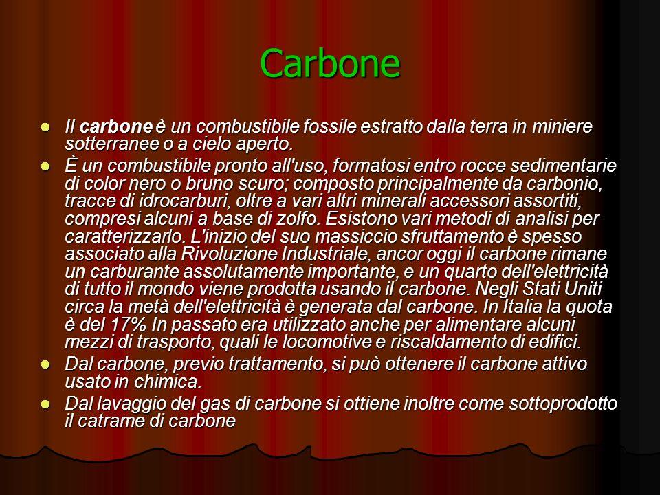 Carbone Il carbone è un combustibile fossile estratto dalla terra in miniere sotterranee o a cielo aperto.