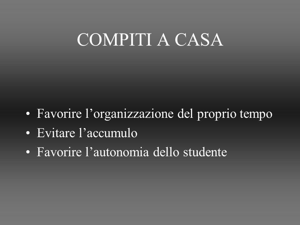 COMPITI A CASA Favorire lorganizzazione del proprio tempo Evitare laccumulo Favorire lautonomia dello studente