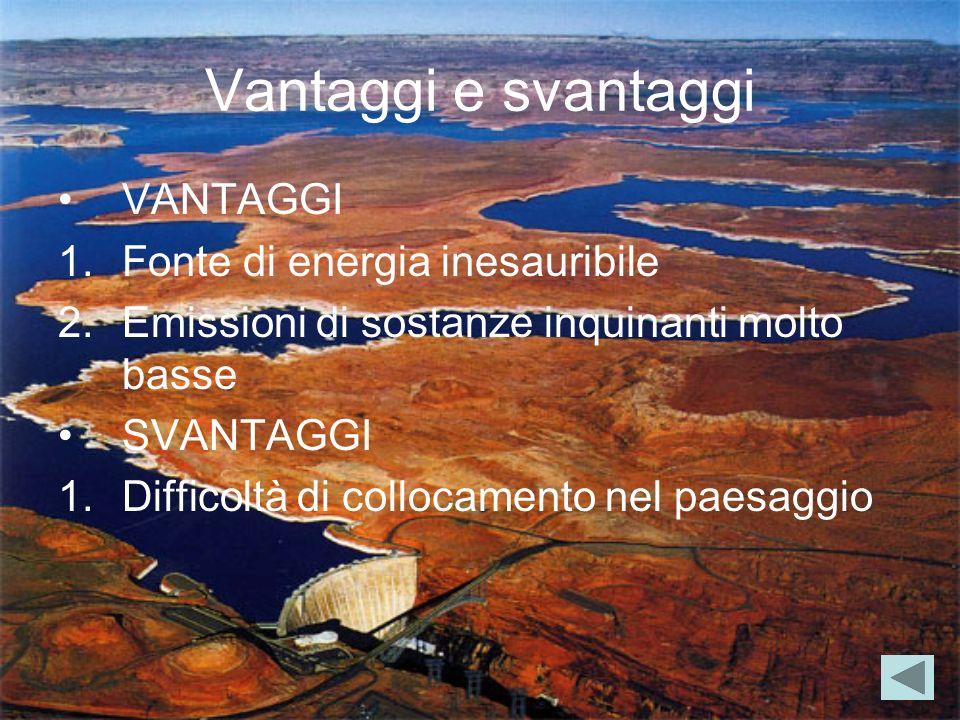 Vantaggi e svantaggi VANTAGGI 1.Fonte di energia inesauribile 2.Emissioni di sostanze inquinanti molto basse SVANTAGGI 1.Difficoltà di collocamento ne