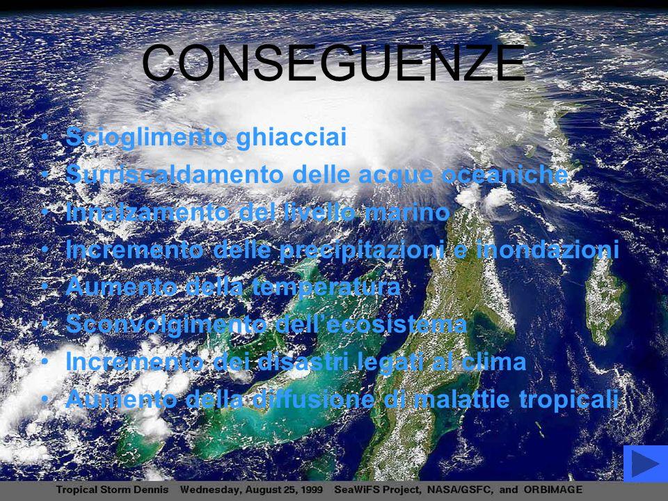 CONSEGUENZE Scioglimento ghiacciai Surriscaldamento delle acque oceaniche Innalzamento del livello marino Incremento delle precipitazioni e inondazion