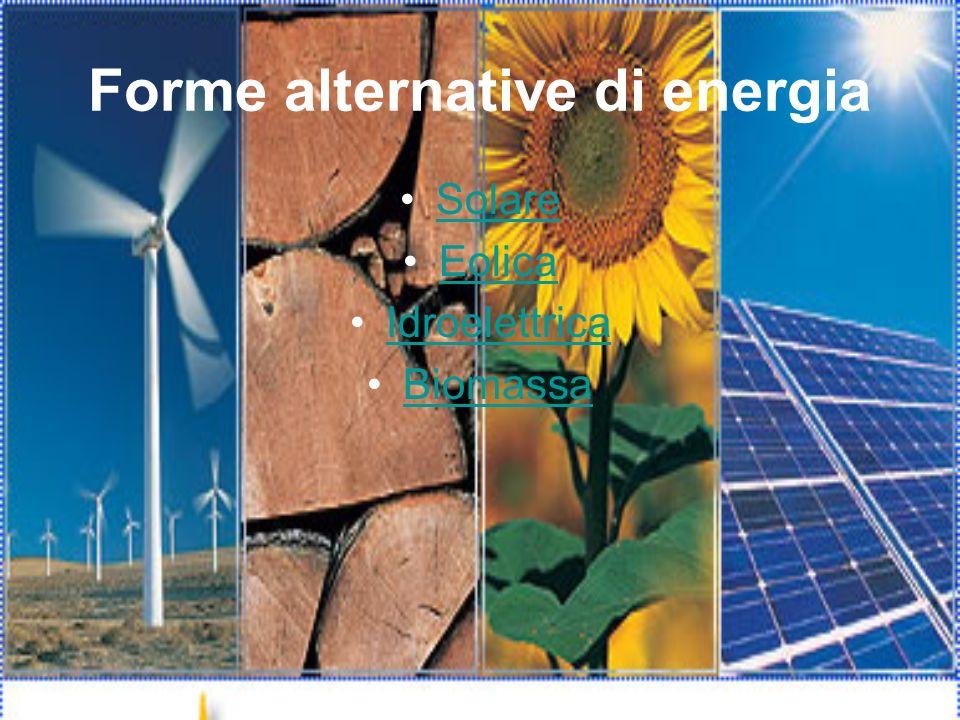 Forme alternative di energia Solare Eolica Idroelettrica Biomassa