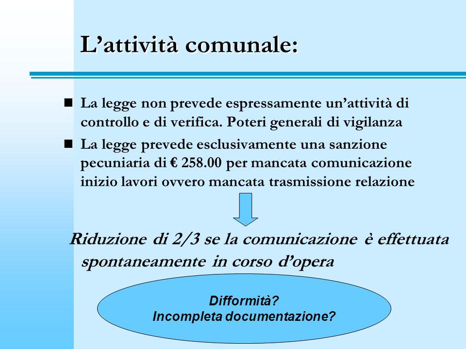 Lattività comunale: La legge non prevede espressamente unattività di controllo e di verifica.