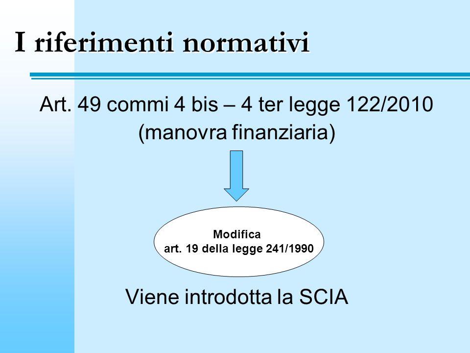 I riferimenti normativi Art. 49 commi 4 bis – 4 ter legge 122/2010 (manovra finanziaria) Viene introdotta la SCIA Modifica art. 19 della legge 241/199