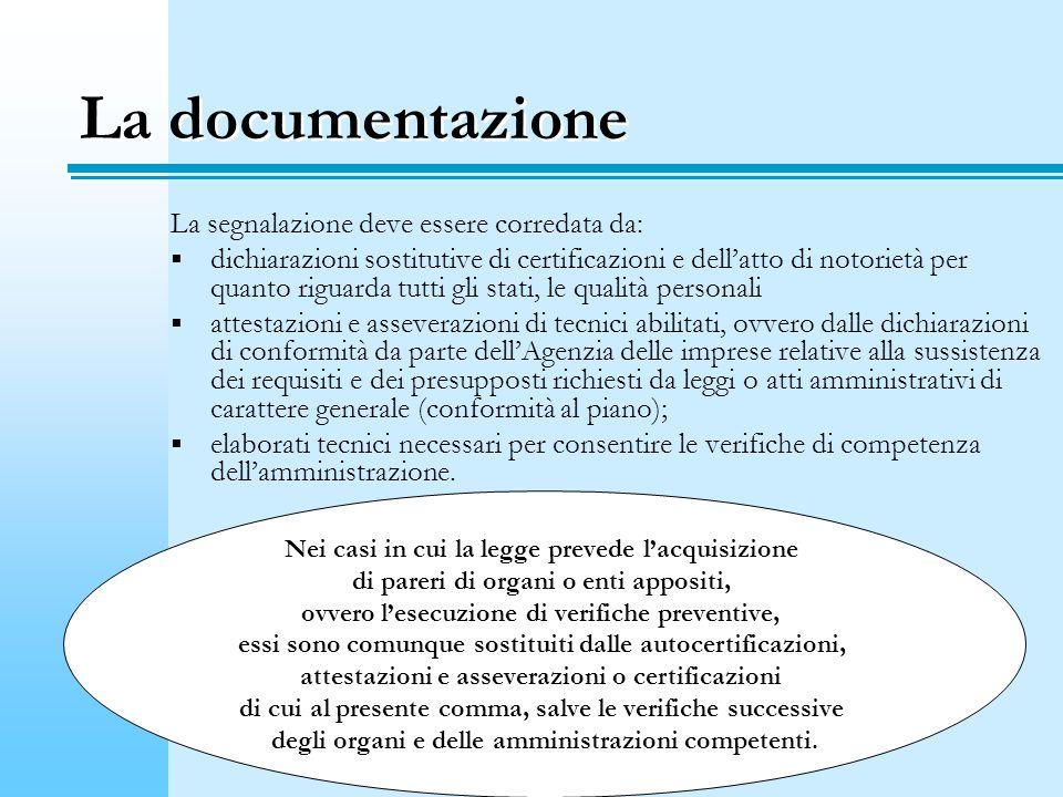 La documentazione La segnalazione deve essere corredata da: dichiarazioni sostitutive di certificazioni e dellatto di notorietà per quanto riguarda tutti gli stati, le qualità personali attestazioni e asseverazioni di tecnici abilitati, ovvero dalle dichiarazioni di conformità da parte dellAgenzia delle imprese relative alla sussistenza dei requisiti e dei presupposti richiesti da leggi o atti amministrativi di carattere generale (conformità al piano); elaborati tecnici necessari per consentire le verifiche di competenza dellamministrazione.