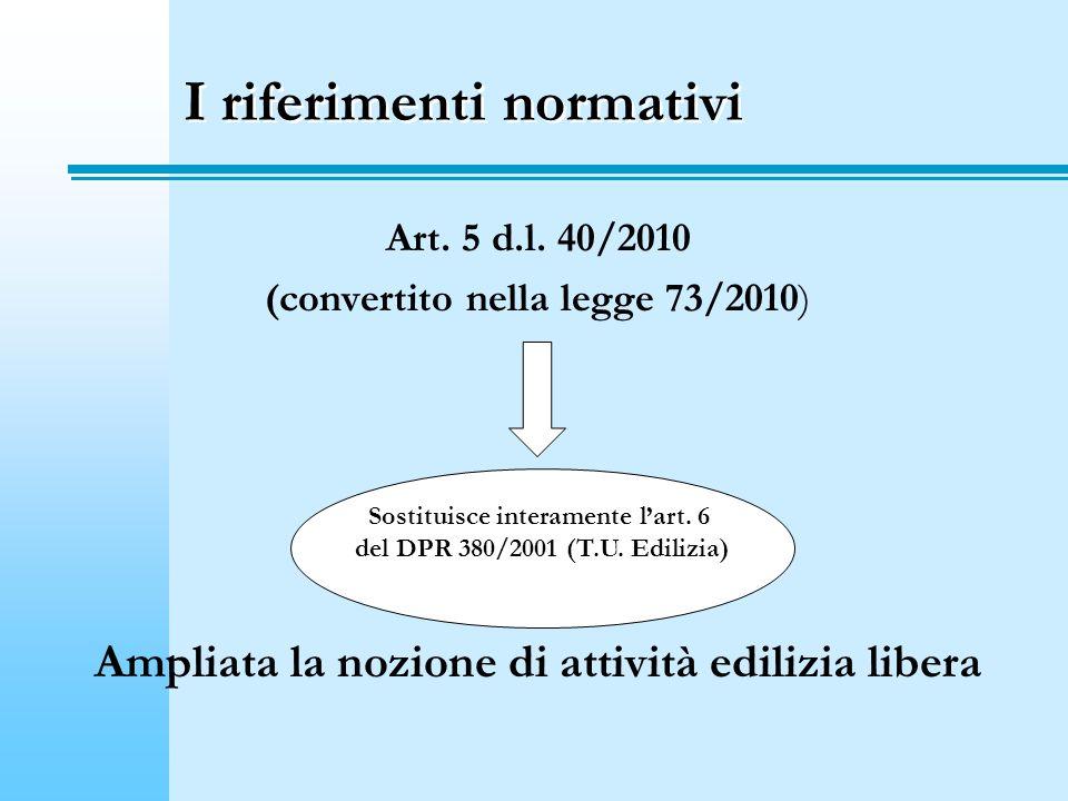 I riferimenti normativi Art. 5 d.l. 40/2010 (convertito nella legge 73/2010) Ampliata la nozione di attività edilizia libera Sostituisce interamente l