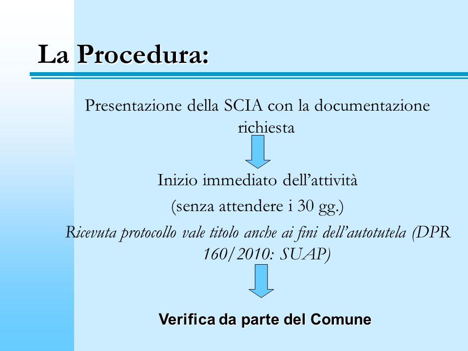 La Procedura: Presentazione della SCIA con la documentazione richiesta Inizio immediato dellattività (senza attendere i 30 gg.) Ricevuta protocollo va