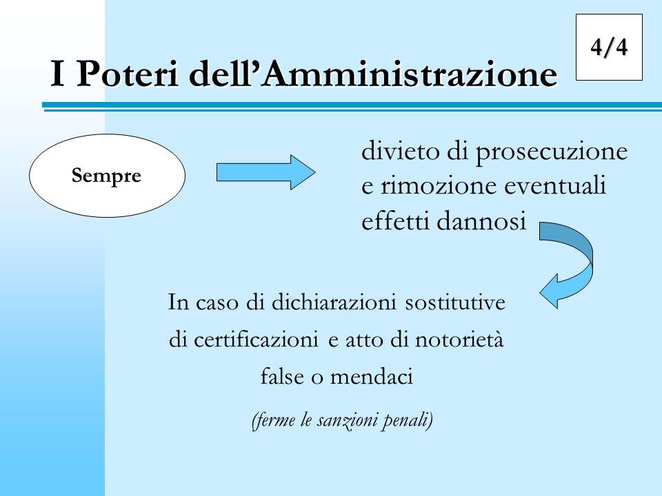 I Poteri dellAmministrazione divieto di prosecuzione e rimozione eventuali effetti dannosi In caso di dichiarazioni sostitutive di certificazioni e at